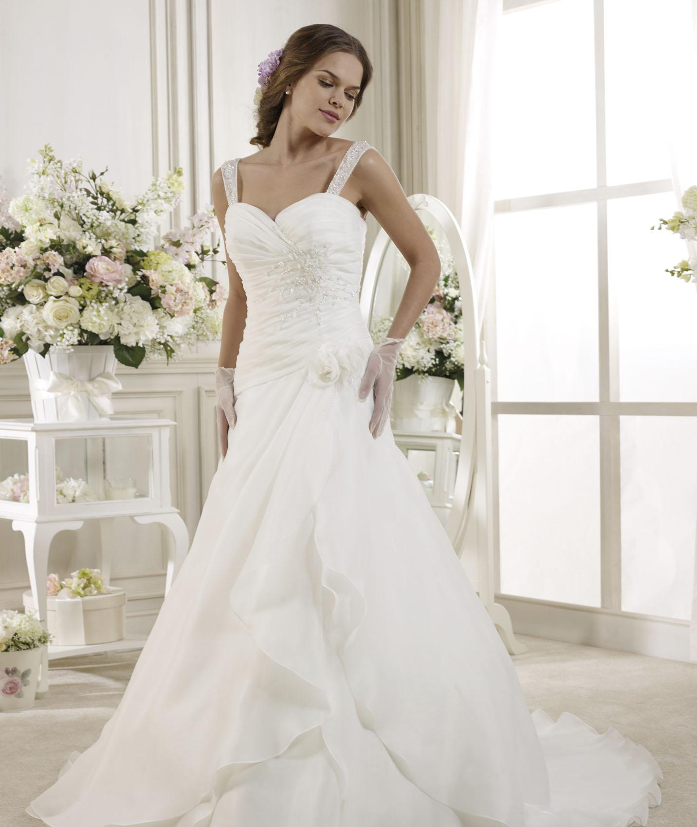 Simple A-line Straps Beading&Sequins Sweep/Brush Train Organza Wedding Dresses