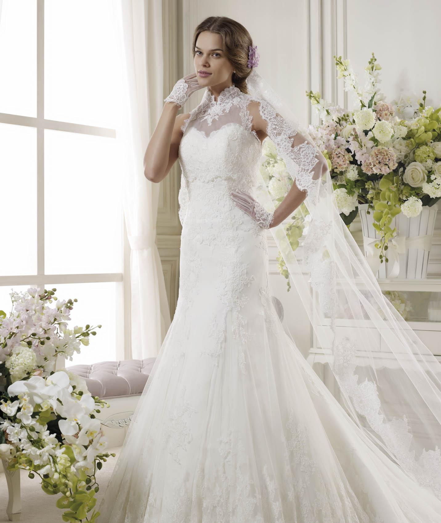 Sexy Trumpet/Mermaid High Neck Lace Appliques Sweep/Brush Train Tulle Wedding Dresses