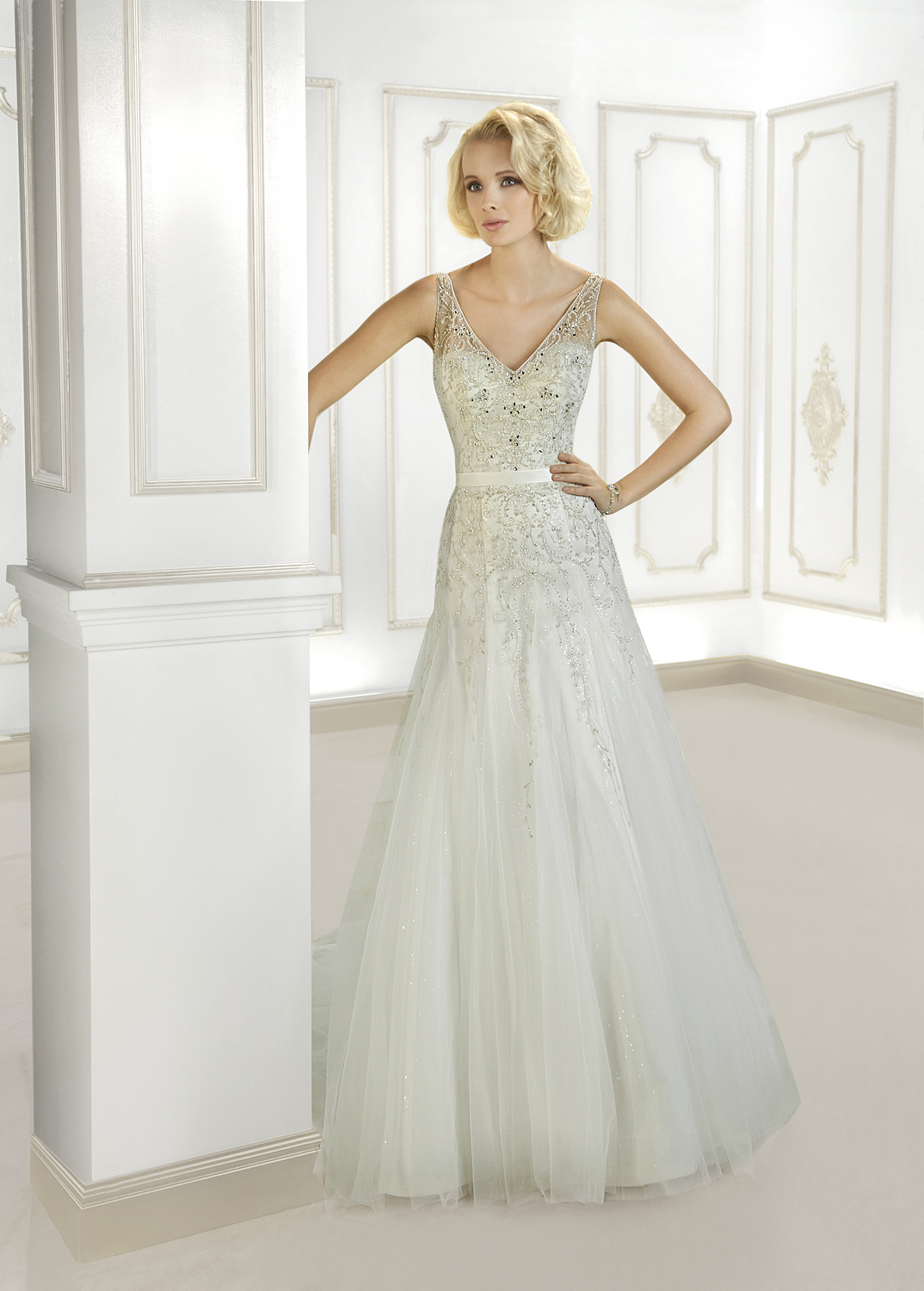 Exquisite A-line Straps V-neck Beading&Crystal&Sequins Embroidery Sweep/Brush Train Tulle Wedding Dresses