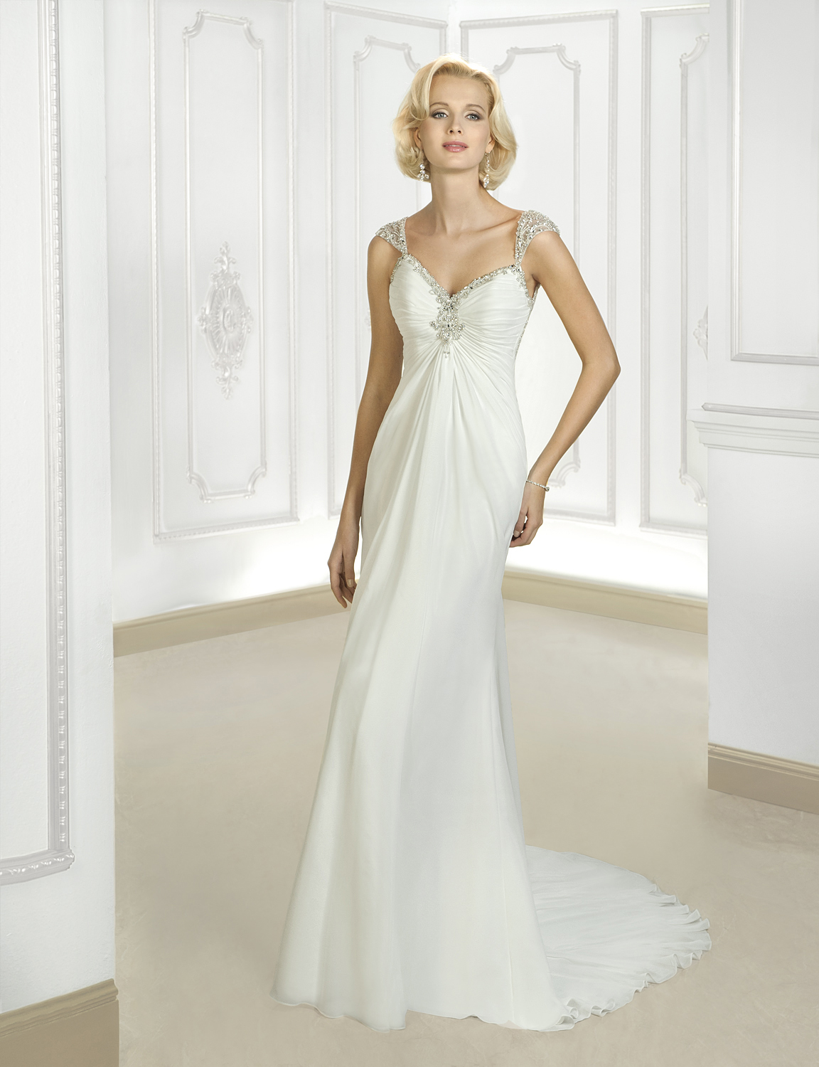 Charming Sheath/Column Straps Beading&Crystal Sweep/Brush Train Chiffon Wedding Dresses