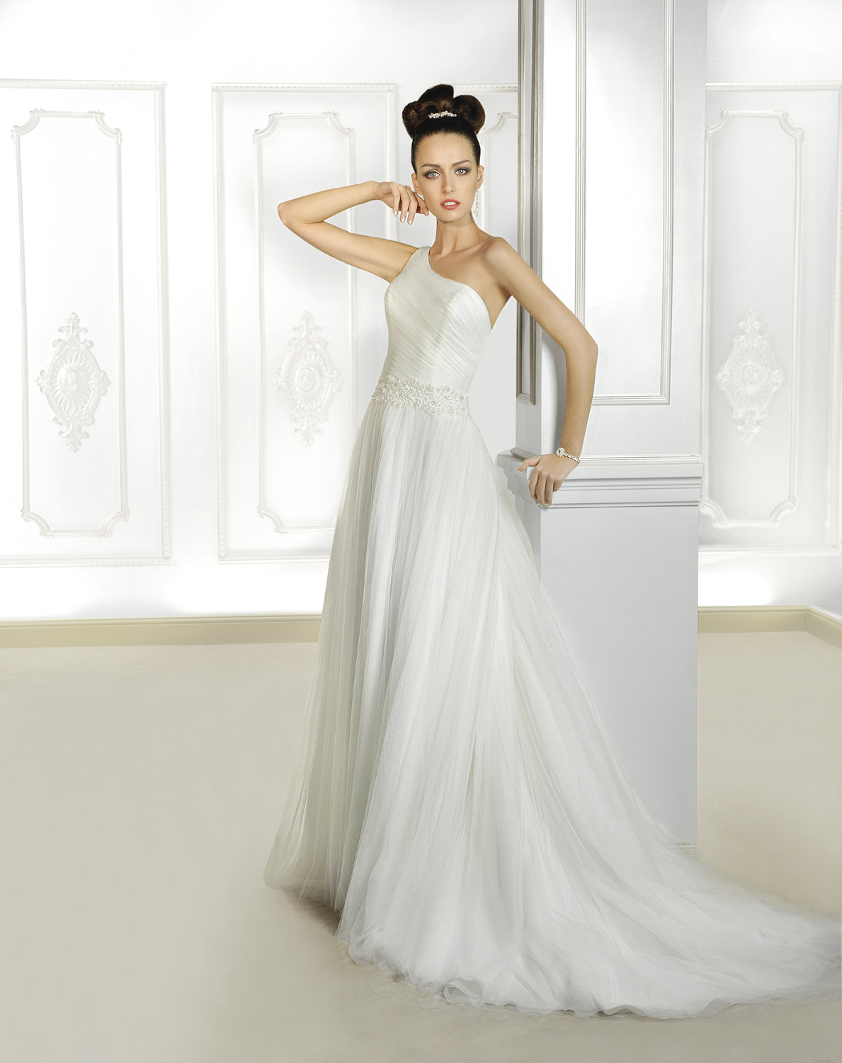 Simple Sheath/Column One Shoulder Beading Lace Sweep/Brush Train Tulle Wedding Dresses