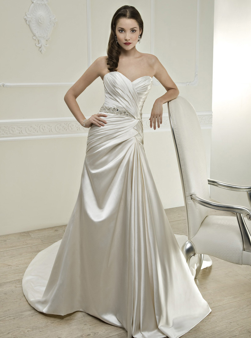 Simple A-line Sweetheart Beading&Sequins Chapel Train Satin Wedding Dresses