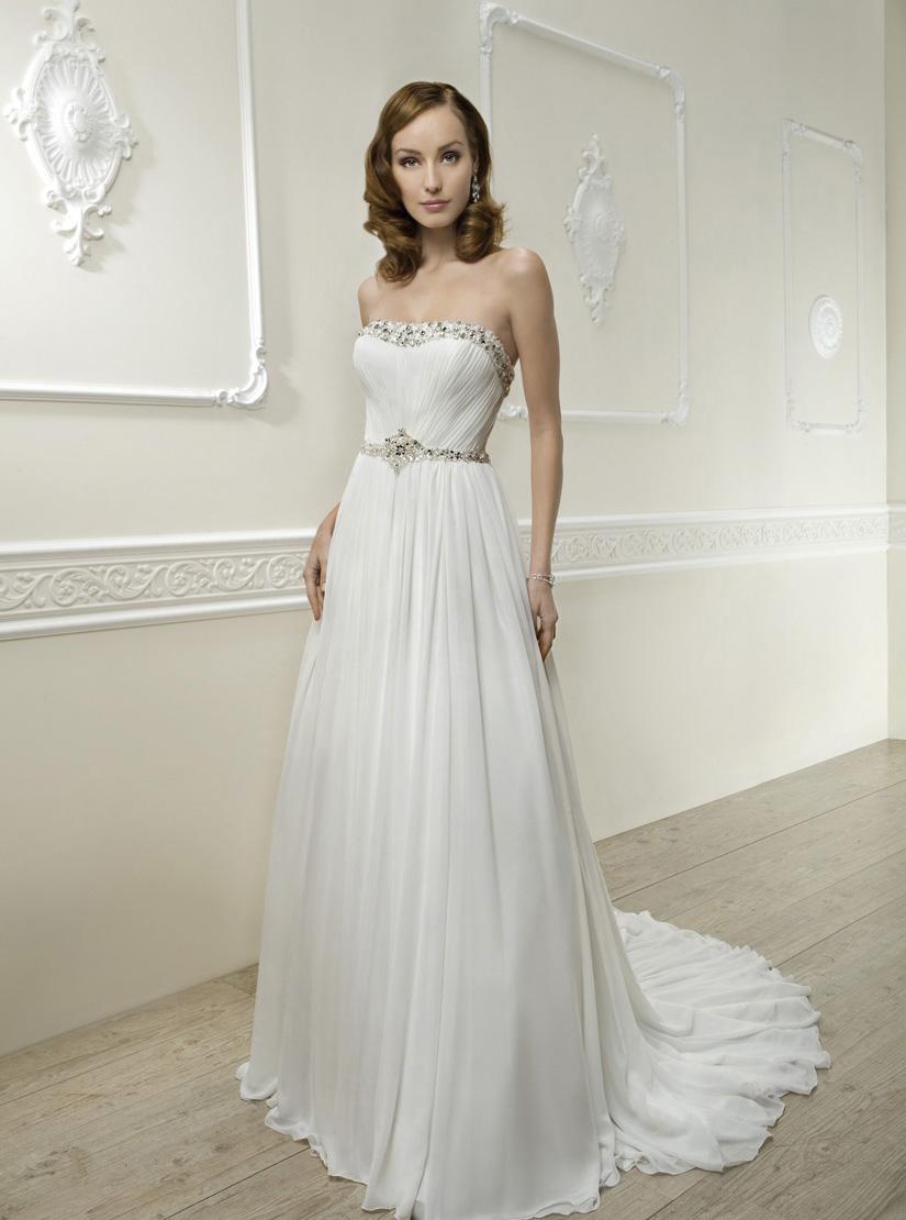 Simple A Line Strapless Beading Crystal Ruching Sweep Brush Train Chiffon Wedding Dresses
