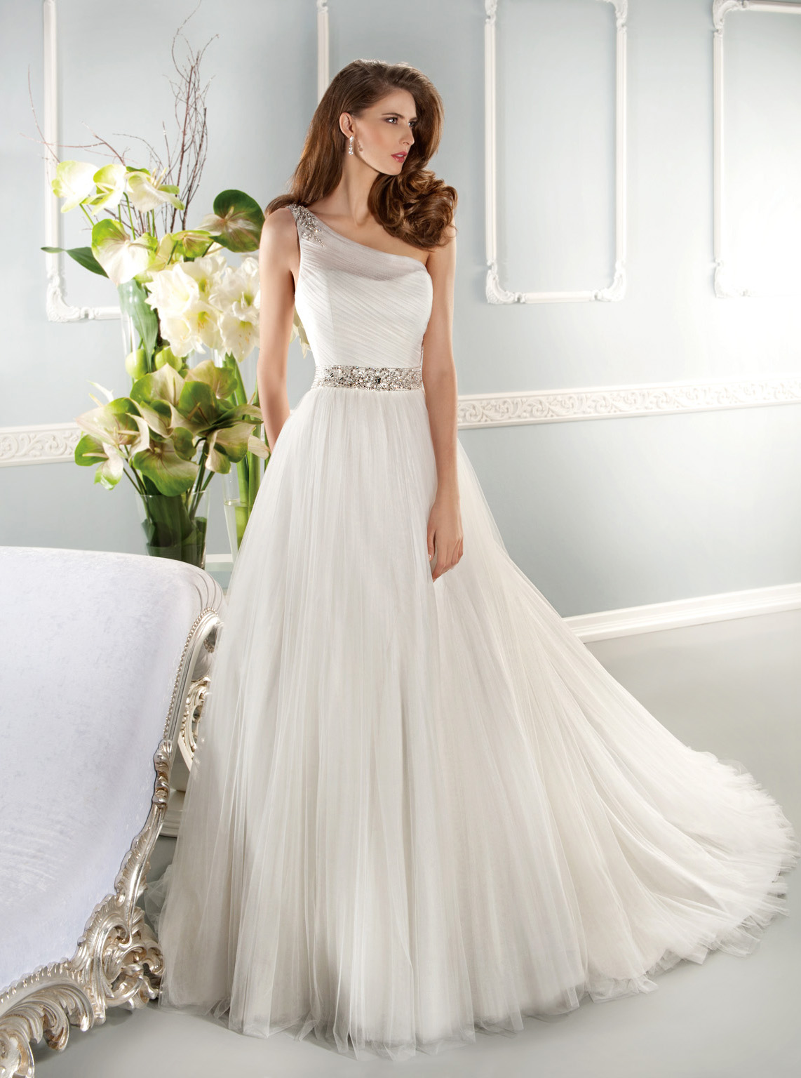 Charming A-line One Shoulder Beading&Crystal Detailing Sweep/Brush Train Tulle Wedding Dresses