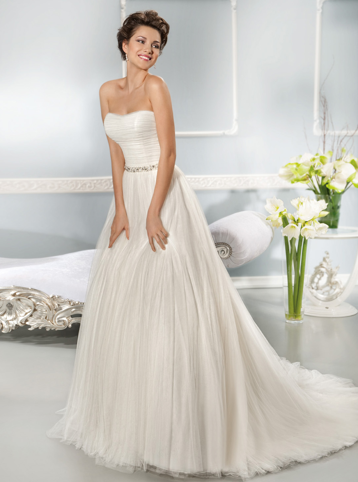 Simple A-line Strapless Beading Ruching Sweep/Brush Train Tulle Wedding Dresses