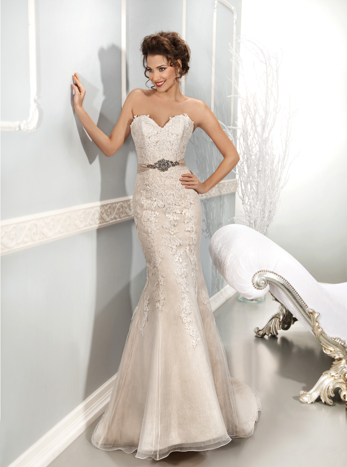 Sexy Trumpet/Mermaid Sweetheart Beading&Crystal Lace Sweep/Brush Train Organza Wedding Dresses