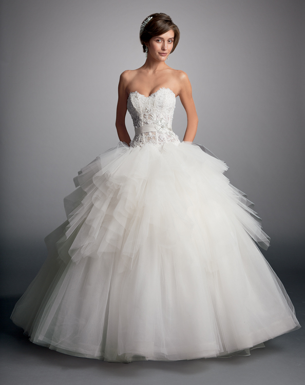 Charming Ball Gown Sweetheart Beading&Sequins Lace Sweep/Brush Train Tulle Wedding Dresses