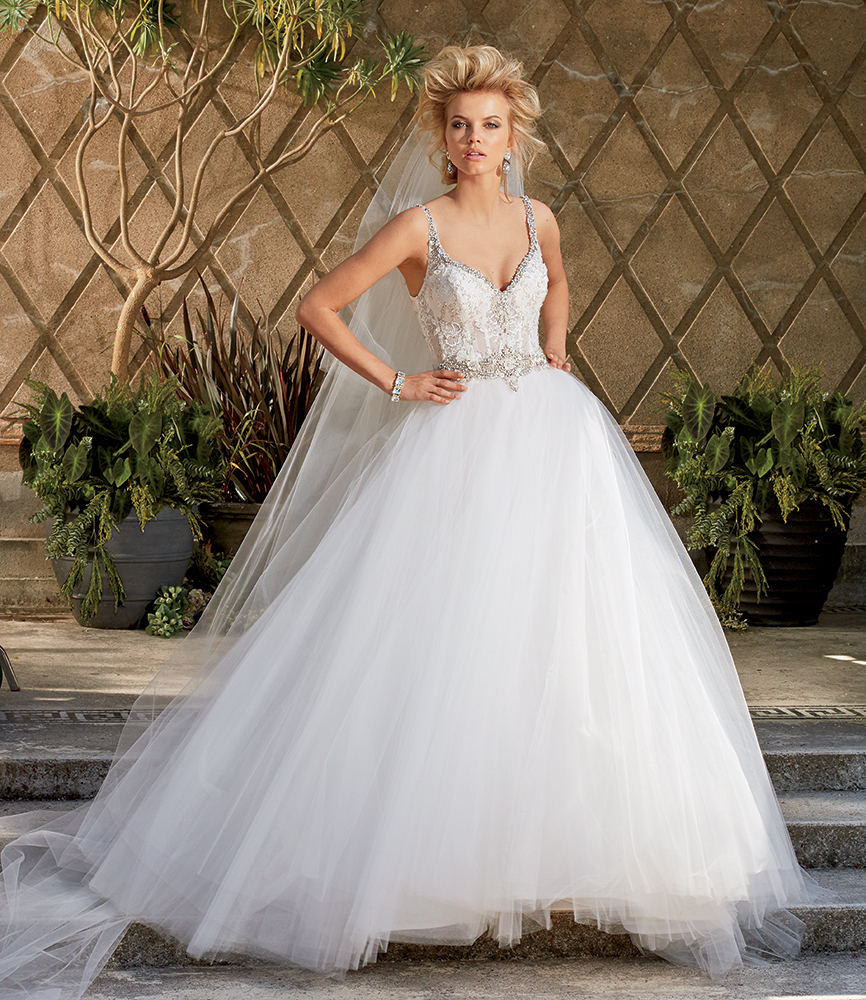 Charming Spaghetti Strap Ball Gown Beaded Lace Bodice Tulle Wedding Dress